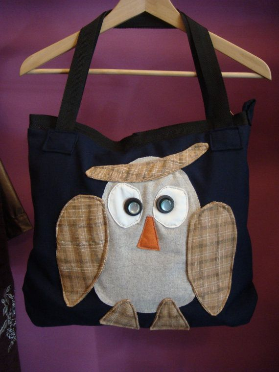 Upcycled Shoulder Tote Bag Biwitched OWL Fabric scraps. Two handles Recycled Purse