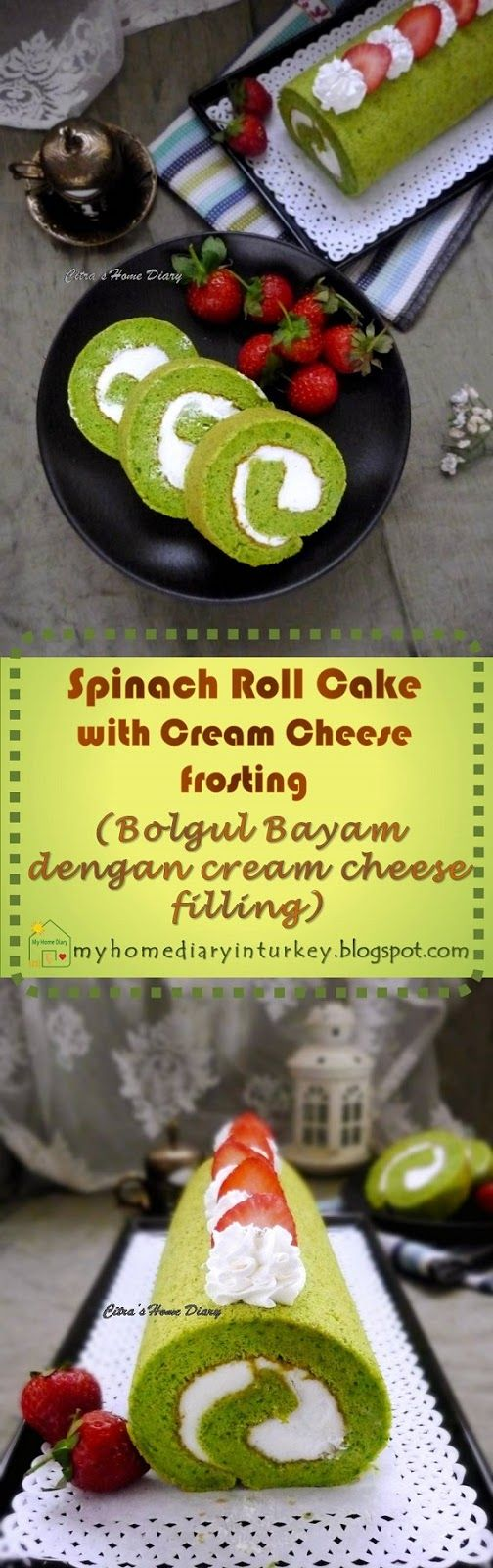 Spinach Roll Cake with Cream Cheese filling / Bolu gulung Bayam dengan cream cheese filling | Çitra's Home Diary. #swissrollcake #jellyroll #rollcake #bolugulung #creamcheesefilling #dessert #spinachcake #spinachrecipeidea #greencolorcake