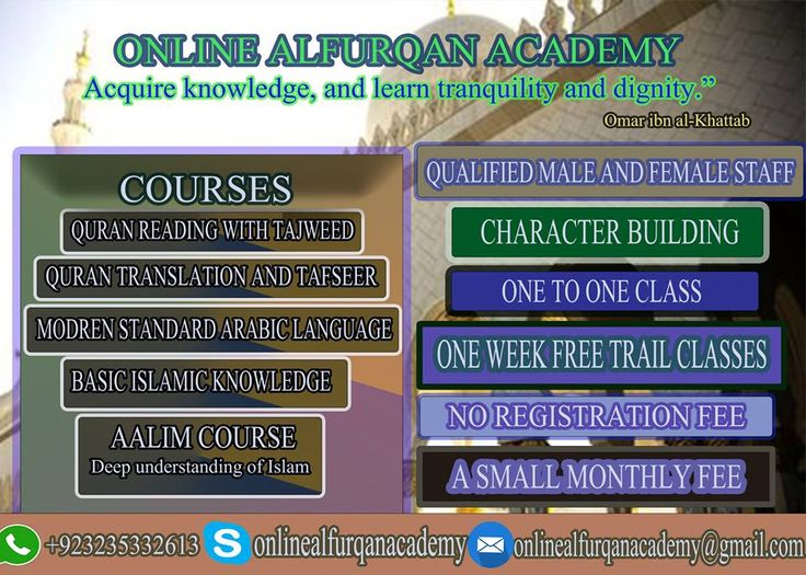 Online Alfurqan Academy is providing Quran Reading With Tajweed, Tafseer ul Quran, Basic Islamic Knowledge, Modren Standard Arabic Language Courses and Aalim course. For more details email us or send a message Thank you!