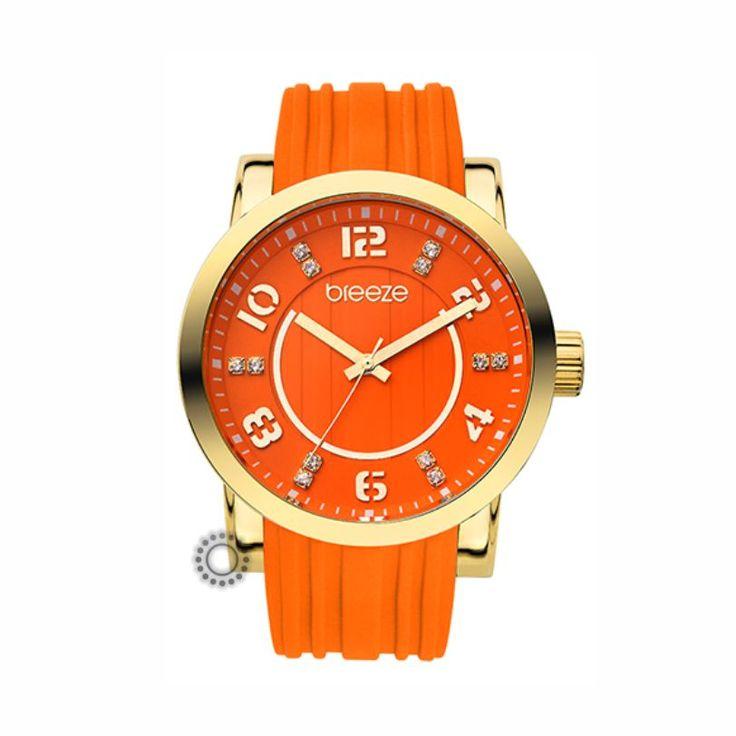 2013110041.5 Γυναικείο fashion quartz ρολόι της BREEZE από τη σειρά Ocean Drive με πορτοκαλί καουτσούκ και πορτοκαλί καντράν. Αποστολή εντός 24 ωρών.