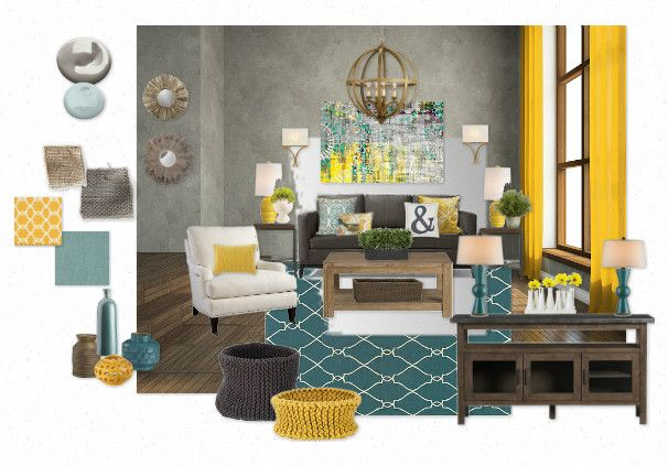Teal and gold great room by createhome olioboard for Living room ideas mustard
