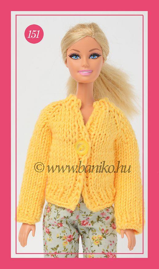 Napsárga kötött Barbie kardigán