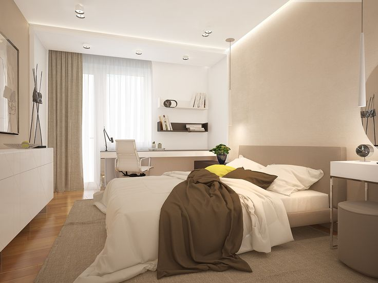 The bedroom stays with the same palette, bringing in a bit more white, which makes it a clean and lovely place to retreat at the end of the day.