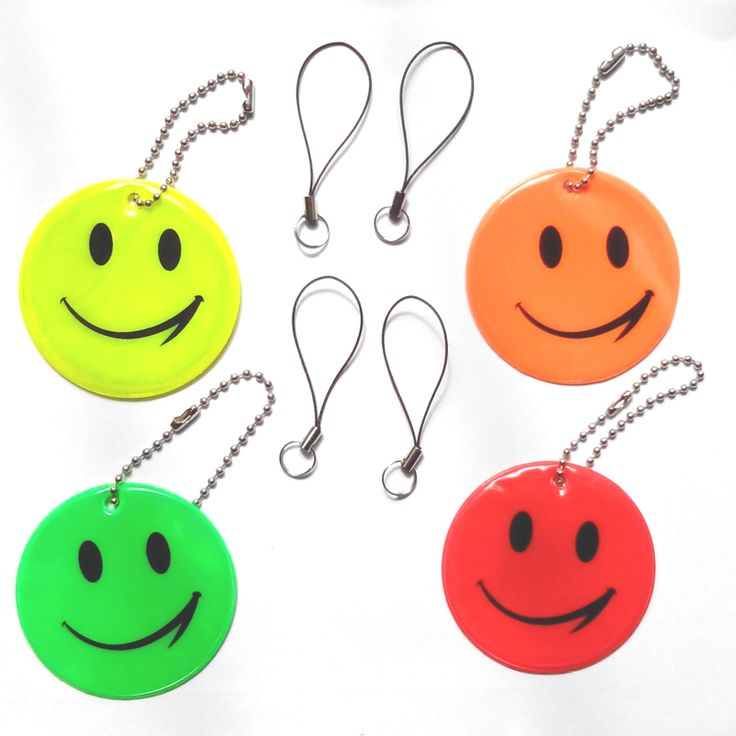 Smile face,Reflective Pendant for visible safety use dangled on bag,mobile phone,clothing,free shipping