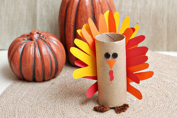 Upcycle your toilet paper rolls to make this Thanksgiving paper craft. The turkeys are such cute paper crafts for kids.