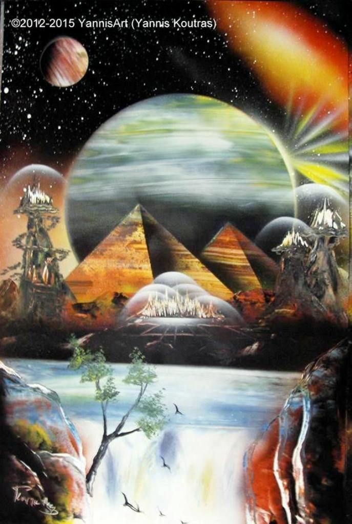Pyramids - Spray paint art https://www.youtube.com/watch?v=lPGMJZIYJIs