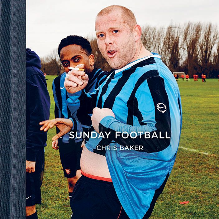 The cover of Sunday Football by Photographer Chris Baker's. The book features a documentation of amateur football games that take place at the Hackney Marshes.