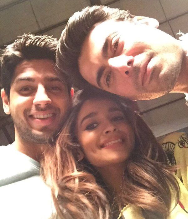 "Selfie time! - Alia Bhatt, Sidharth Malhotra and Fawad Khan on the sets of ""Kapoor And Sons"""