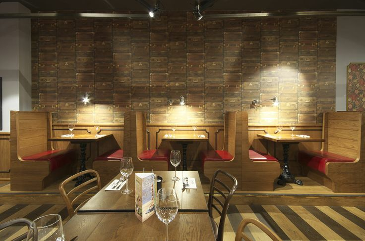 Booth seating inspired by vintage railway carriages | Zizzi Manchester Piccadilly, 2014