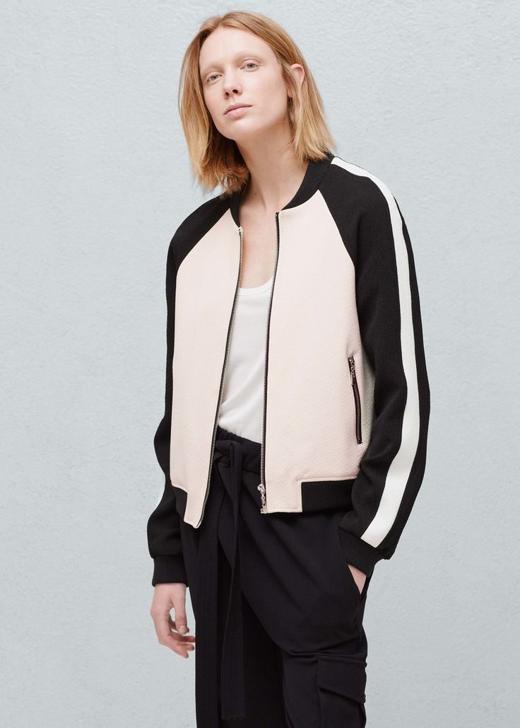 Cut bomber. But the size goes large on me, even though I got a xxs.  Contrast bomber - Jackets for Women   MANGO USA