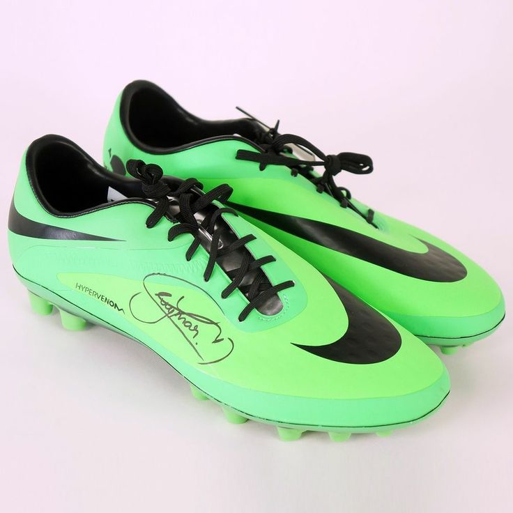 Green Nike Hypervenom Soccer Cleats, Signed by Neymar Jr