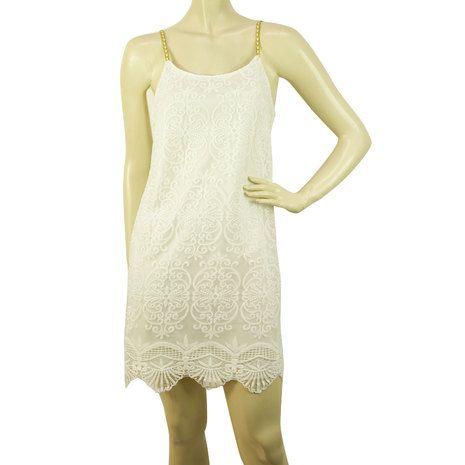 Cocktail White Lace w. Deep V Back Gold Spaghetti Sraps Mini Dress Sz M