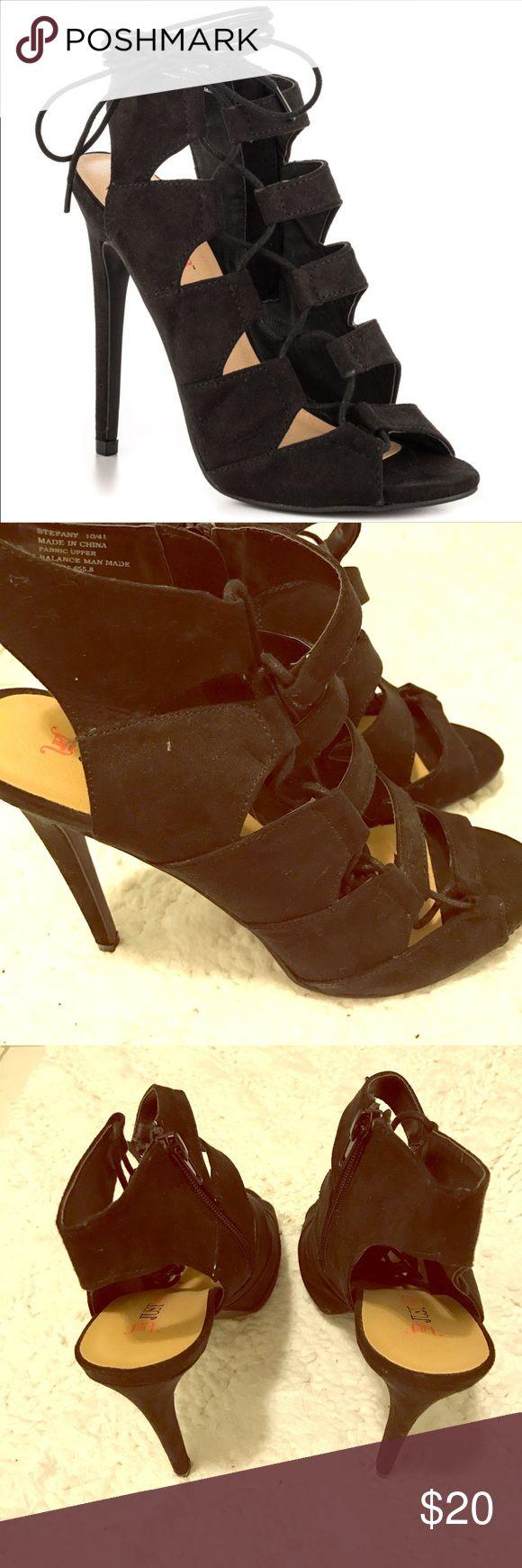"Women's black gladiator heels Strappy heels wrap around the calf/ 4.5"" heel/ zipper closure/ very sexy/ never worn JustFab Shoes Heels"