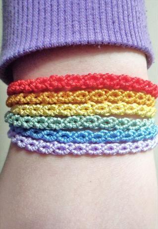 Rainbow Macrame Knot Friendship Cord Bracelet