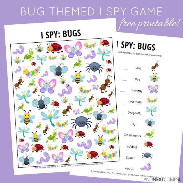 Bug I Spy Game {Free Printable for Kids} | Spy games for ...