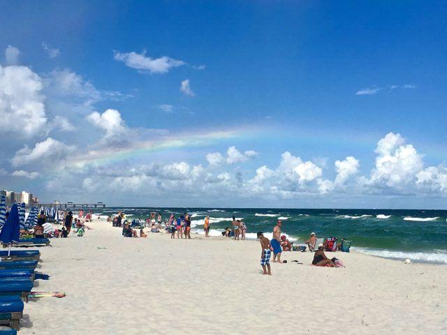 Rainbow On The Beach In Beautiful Orange Al Leslie Anne Tarabella