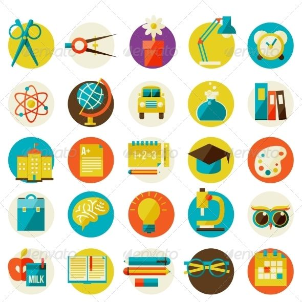 Set of Flat School Icons by Sabelskaya Set Of Flat School Icons 100 Vector Easy to change color or size Fully layered and editable Zip file includes: EPS10 file, A