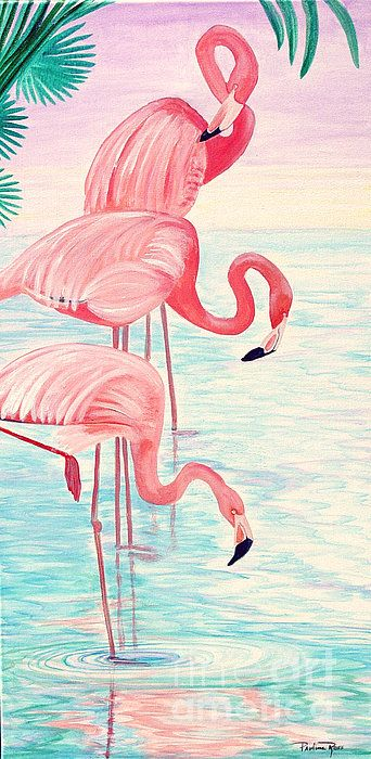 flamingos by pauline ross. Reminds me of a paint-by-number picture that my mother did over 60 years ago!