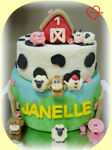 Loving Creations for You: Barnyard Farm Animals Tier Chiffon Cake