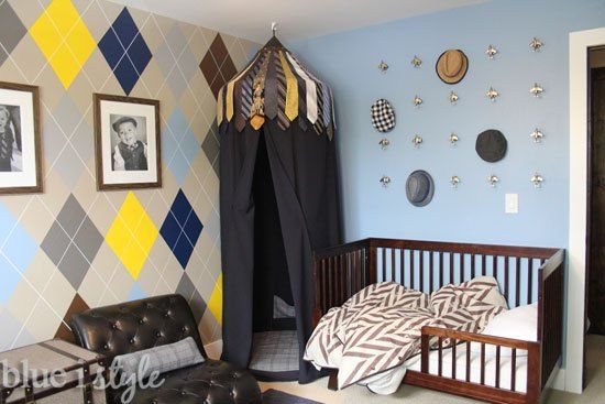 When planning my son's menswear themed bedroom, I envisioned an argyle feature wall. I designed the entire room around the idea of this wall, but when it came t…