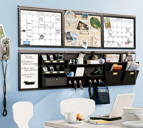organized: Organizations Ideas, Command Center, Commandcenter, Wall Storage, Desks, Offices Organizations, Pottery Barns, Home Offices, Offices Wall