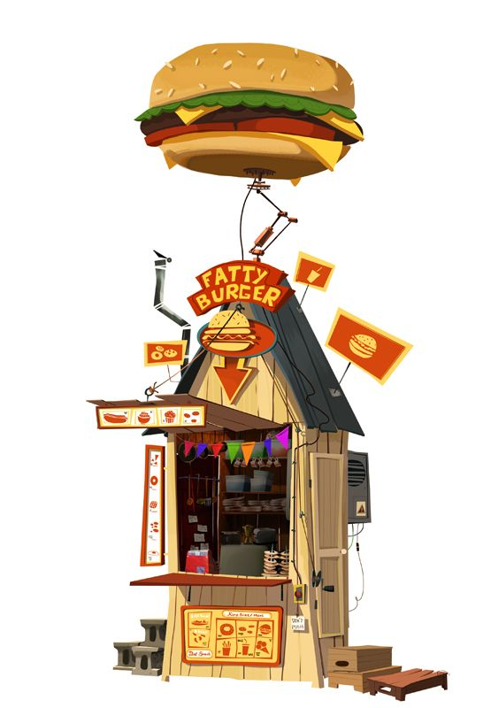 house, burger, joint, shack, illustration