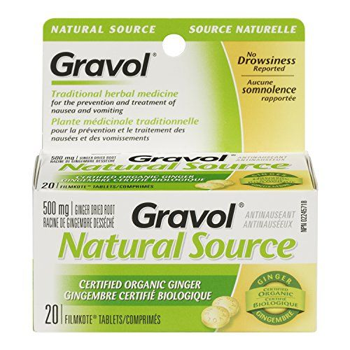 Certified Organic Ginger GRAVOL NATURAL SOURCE (20 Tablets) Antinauseant for NAUSEA, VOMITING & MOTION SICKNESS 500 mg Gravol