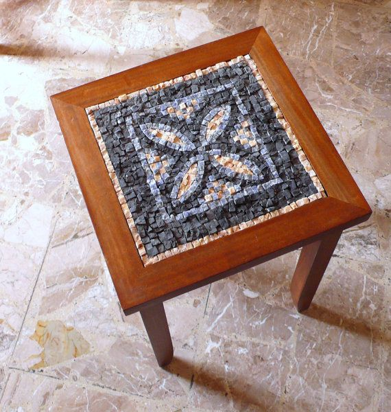 mosaic table / rustic chic mosaic / furniture / brown black, blue, cream / home furniture / rustic furniture / coffee table / home living