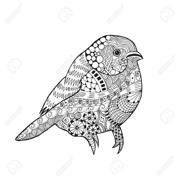 48744744-Zentangle-uccello-stilizzato-Animali-Mano-bianco-nero-disegnato-passero-scarabocchio-Etnico-illustra-Archivio-Fotografico.jpg (1300×1300)
