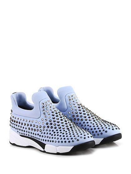 Pinko - Sneakers - Donna - Sneaker in tessuto tecnico elasticizzato con multi strass su tomaia e suola in gomma. Tacco 45, platform 25 con battuta 20. - CELESTE - € 298.00
