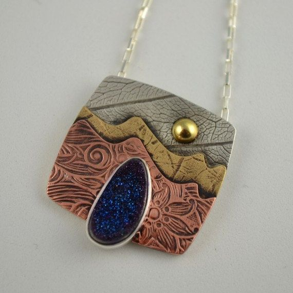 Drusy Quartz Pendant  Copper Landscape by DeborahCloseDesigns, $134.00