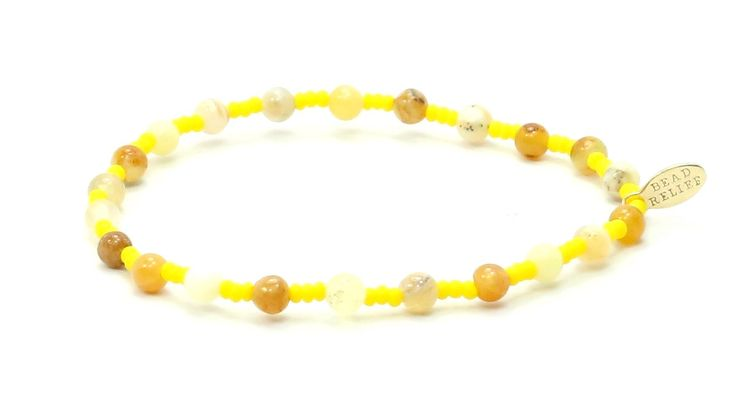 Autism Society Yellow Opal + Yellow Seed Bracelet