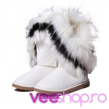 Cizme tip UGG cu blana de iepure, cizme de zapada, albe, joase, fara toc, blanita multicolora si pufoasa