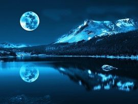 Full Moon Reflection Wide Wallpaper