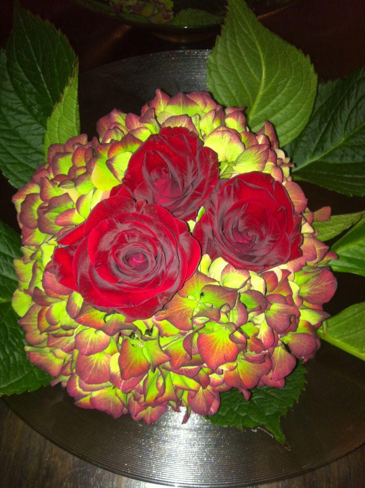 Hortensia, roser, rød, stuedekor, bordpynt