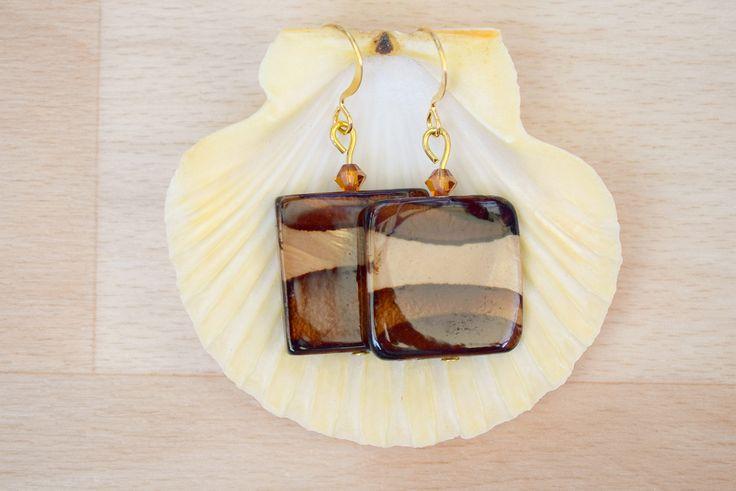 Square Seashell Earrings - Ombre Earrings - Sea Shell Jewelry - Dark Brown-Light Brown Earrings - Natural Jewelry - Dangle Earrings by SkadiJewelry on Etsy