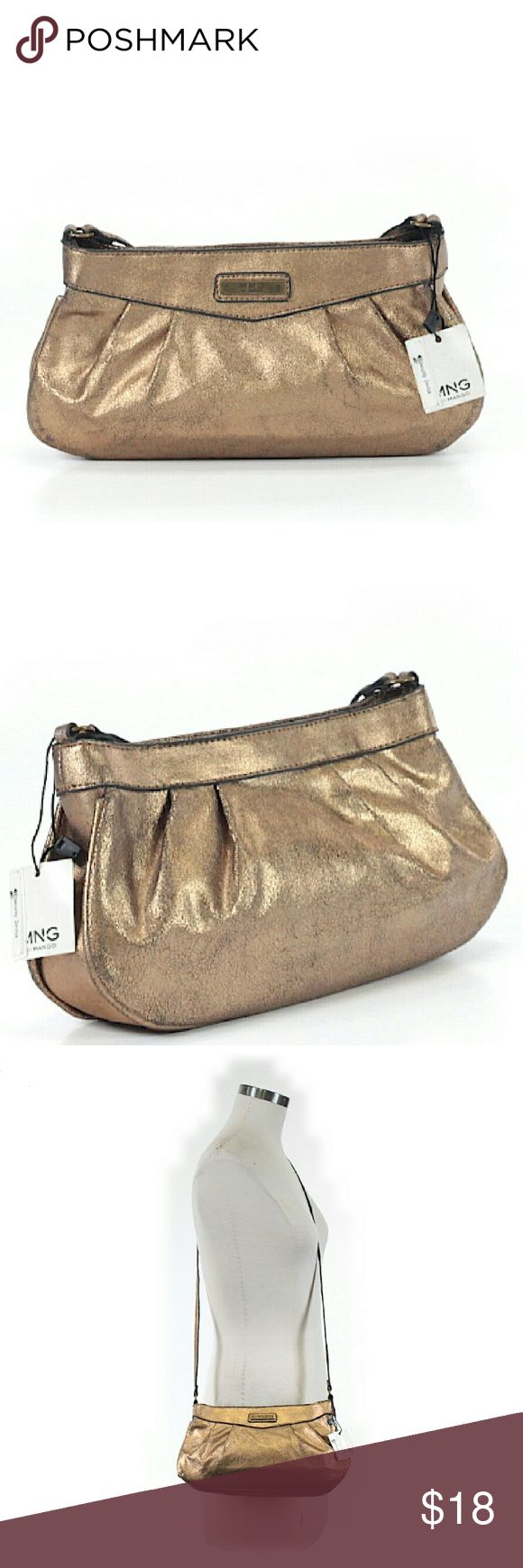 """NWT MNG by Mango Golden Bronze Shoulder Bag NWT. 11"""" x 5"""" x 2"""". All pictures are of the actual item that you will receive. Mango Bags Shoulder Bags"""