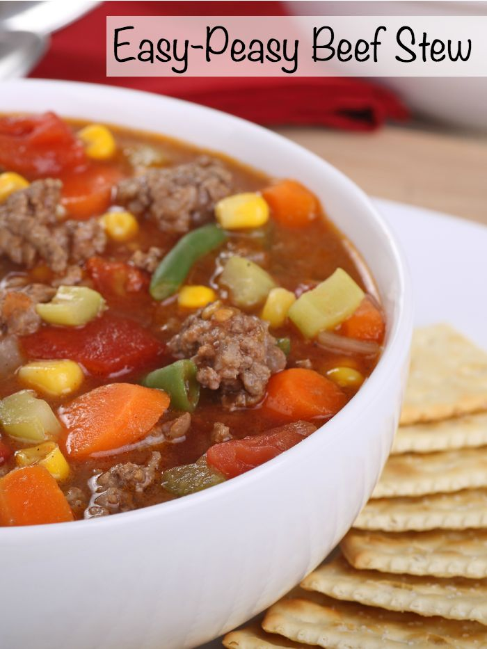 This recipe for beef stew is so ridiculously easy. I think I could make this in less than 10 minutes. Perfect on a night when things are just crazy around the house!