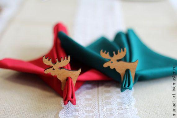 Купить Новогодние держатели для салфеток - бежевый, новогодний декор, Новогодний стол, подарок хозяйке
