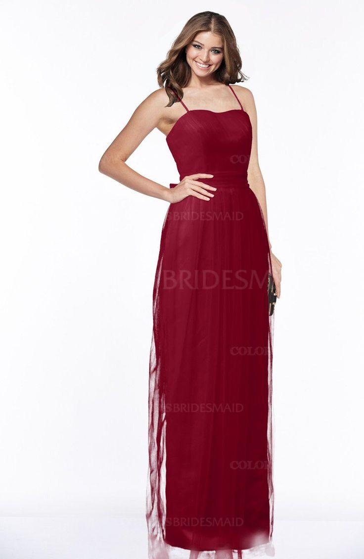 Scooter Plain Spaghetti Zip up Satin Floor Length Bridesmaid Dresses