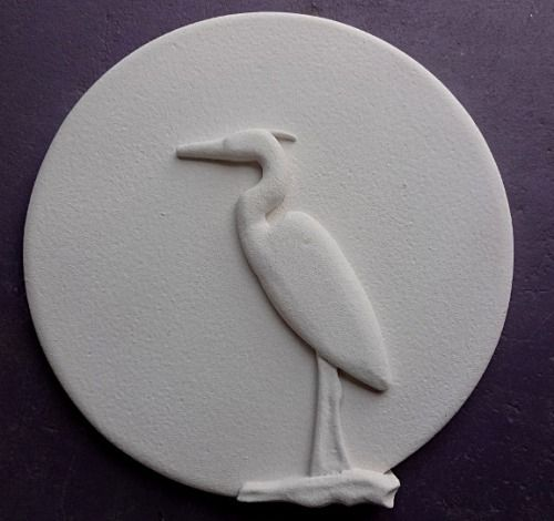 """FM - 46 Egret Architectural Foam Medallion This foam egret/sun silhouette is 24"""" made from foam and finished for exterior applications. May be painted. Can be made in other sizes."""