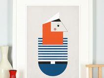 Retro Poster, Seemann Pirat Poster, Kinderbild