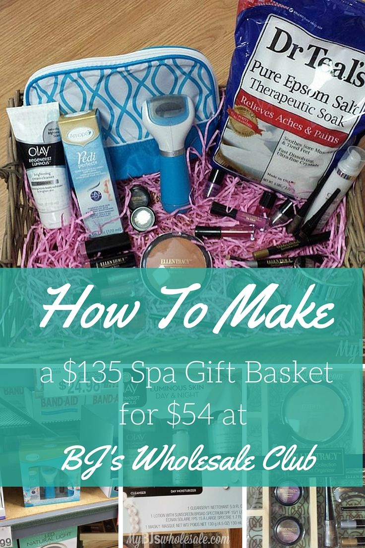 How to Make A $135 Spa Day Gift Basket for only $54 at BJ's Wholesale club - http://www.mybjswholesale.com/2016/04/make-200-spa-day-gift-basket-54-bjs-club.html/