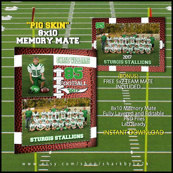 2017 football memory mate sports template for photoshop pig skin free 5x7 team mate included. Black Bedroom Furniture Sets. Home Design Ideas