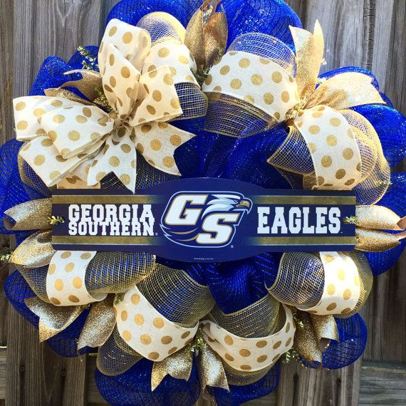 Georgia Southern University Wreath  Georgia by MakingAMesh on Etsy