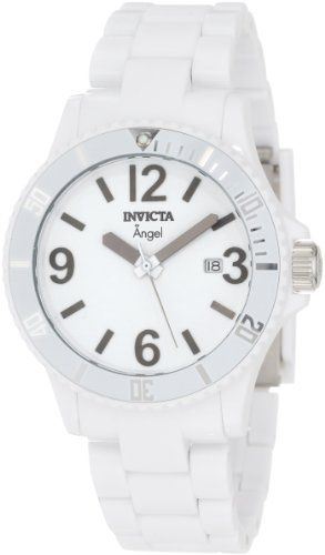 Invicta Women's 1207 Angel White Plastic Watch The bright white color of this Invicta Angel watch is practically heavenly, providing the wearer with a crisp, clean timepiece she will want to wear again and again.. Swiss Quartz movement with analog display. Protective Flame Fusion mineral crystal dial window. White dial features gunmetal hands, black Arabic numerals and markers, and date window... #Invicta #Watch