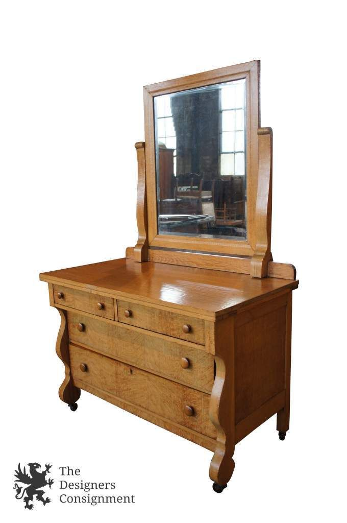 Furniture For Designers design Birdseye Maple Antique Empire Style Bedroom Dresser W Mirror Early 20th Century The Designers