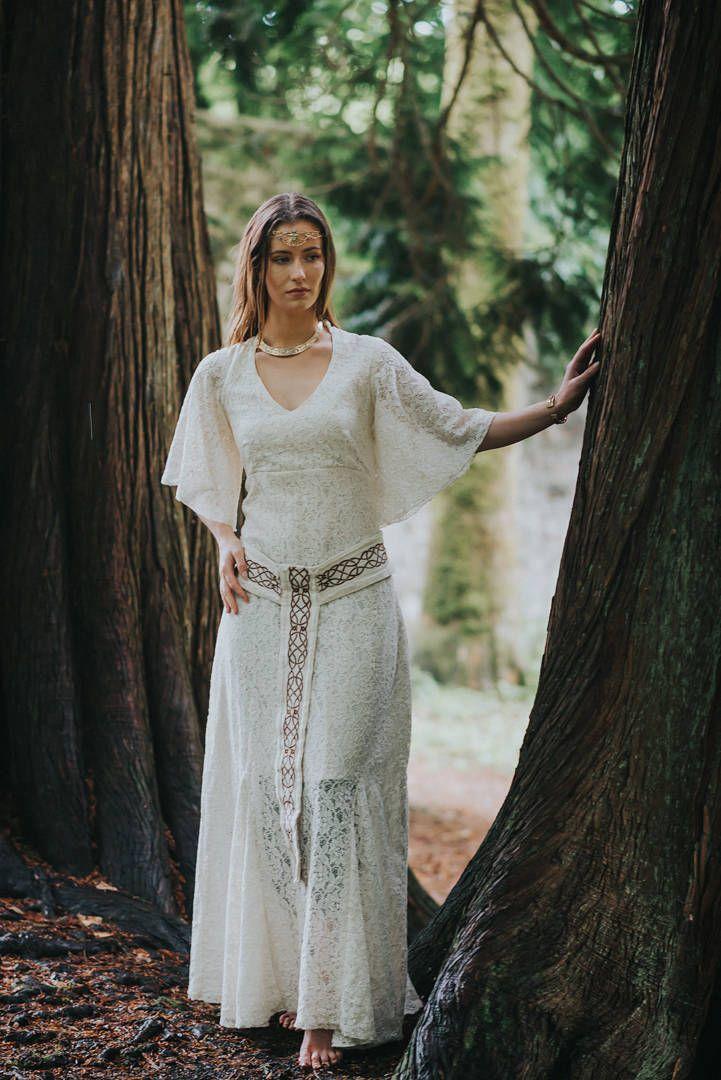 Pagan Handfasting Wedding Dress, Sleeved Wedding Dress