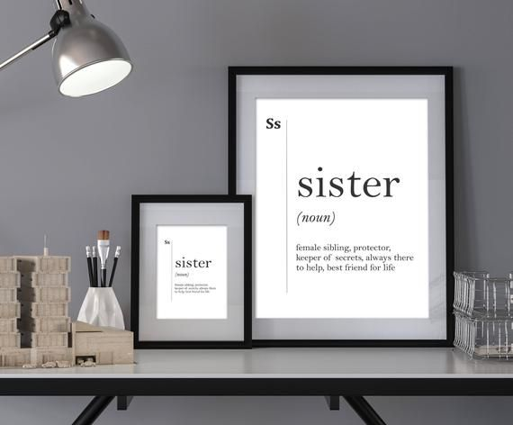 Poster gift Wall Art Minimalist Poster Home Decor Sister Definition Print