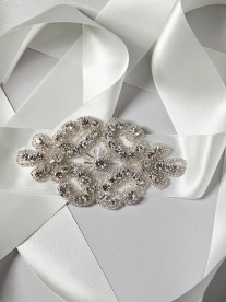 Jay crystal belt - Embroidered swirl detailing sparkles in the light on this delicate side headband.  A mix of  silver and ivory beading, this beautiful piece is finished with an ivory satin sash.